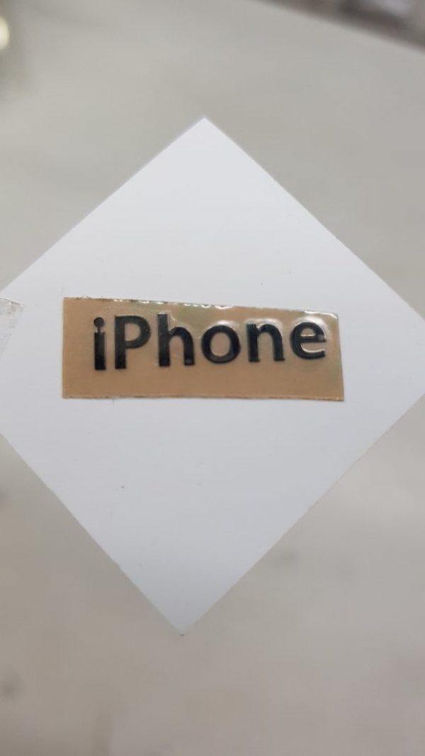 iPhone Black metal logo Glossy Shine